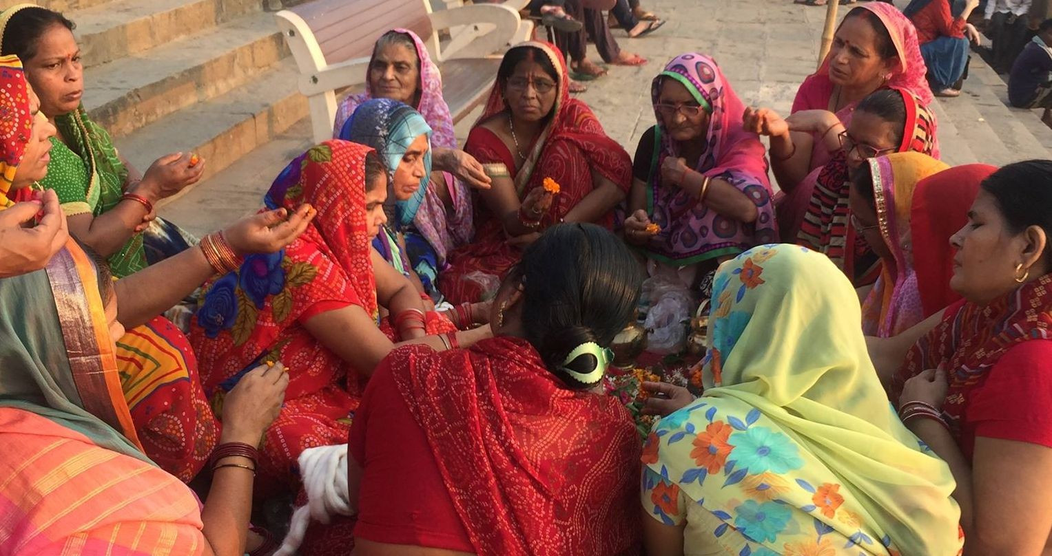 women gather in india